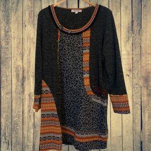 Joe Browns Sweater Dress Boho Aztec Tribal Grey